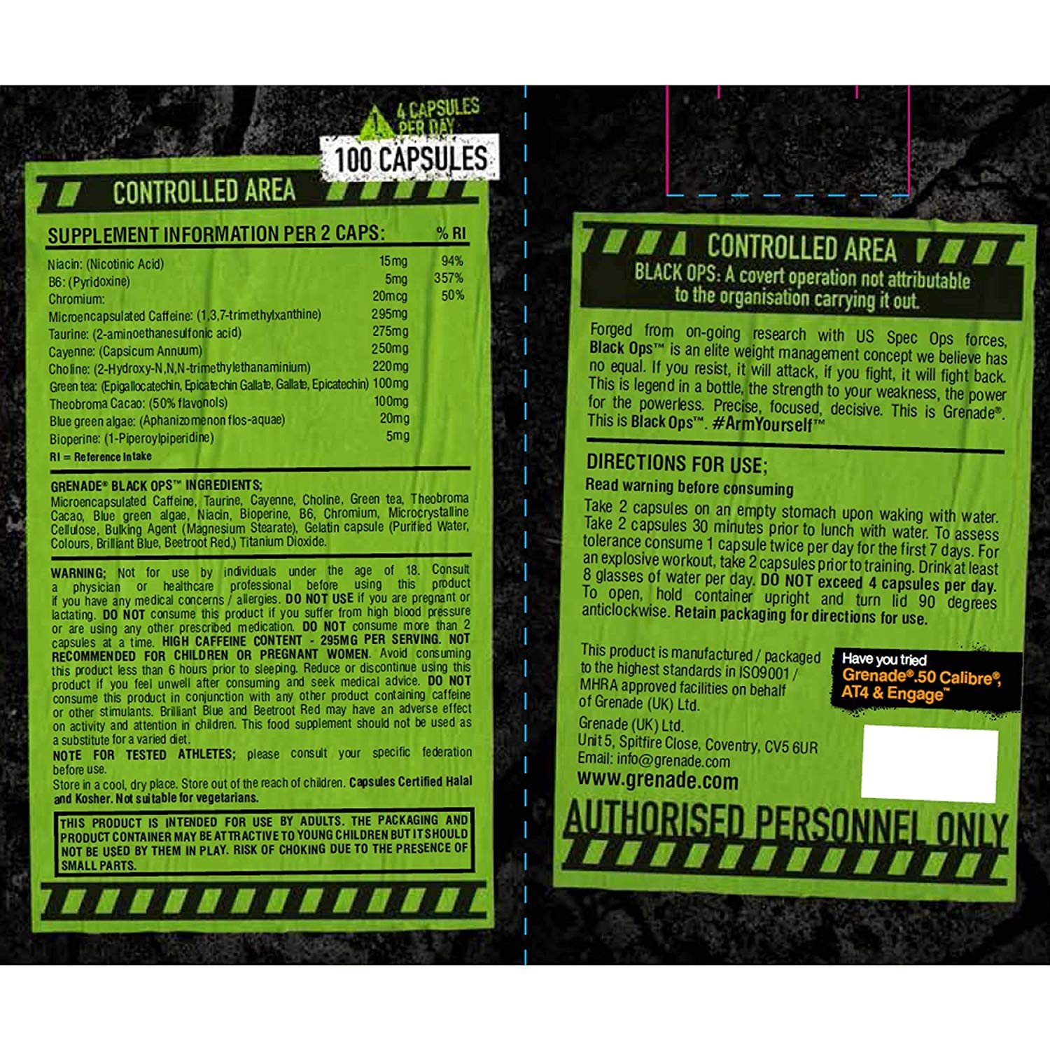 Grenade Black Ops Fat Burner (For High Intensity Training) - FitWhileHome